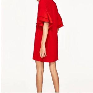 Red ruffle sleeve dress
